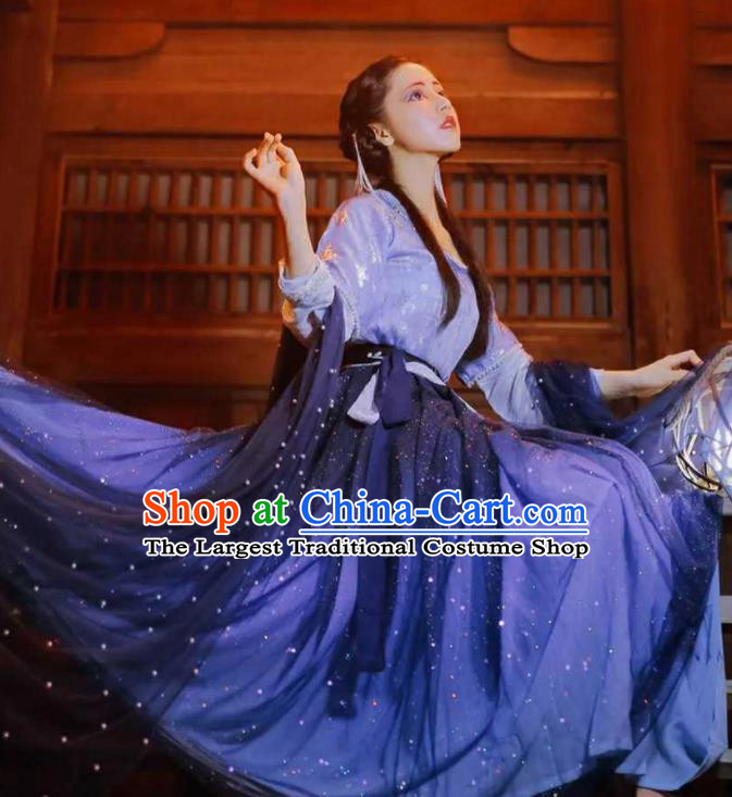 Chinese Traditional Purple Hanfu Dress Ancient Tang Dynasty Court Princess Embroidered Costumes for Women