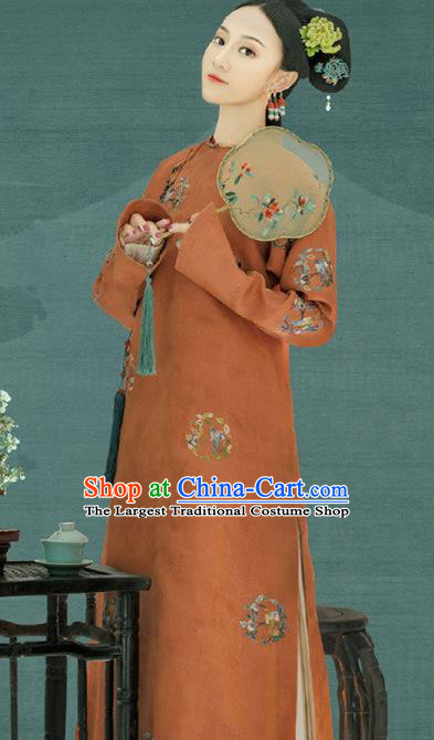 Traditional Chinese Ancient Qing Dynasty Manchu Imperial Consort Embroidered Costumes for Women