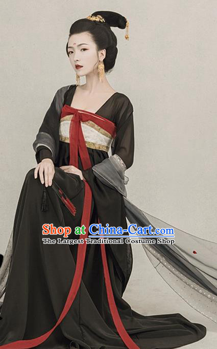 Traditional Chinese Ancient Tang Dynasty Imperial Concubine Black Costumes for Women