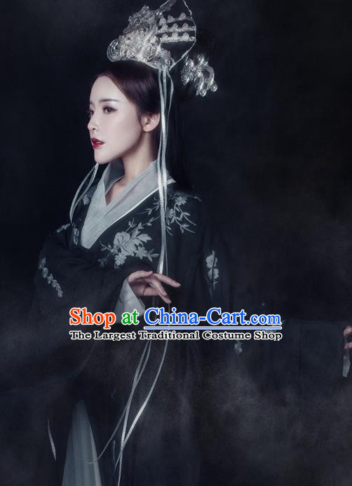 Traditional Chinese Ancient Tang Dynasty Queen Black Costumes and Headpiece Complete Set for Women