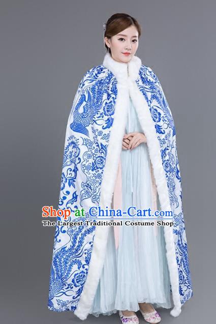 0b9eb20dc Chinese Traditional Costumes Ancient Princess Hanfu Blue Phoenix Cloak for  Women