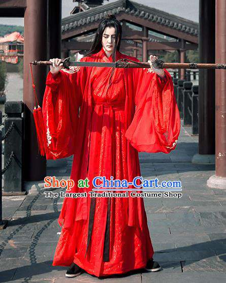 Traditional Chinese Han Dynasty Nobility Childe Wedding Costumes Ancient Swordsman Embroidered Clothing for Men