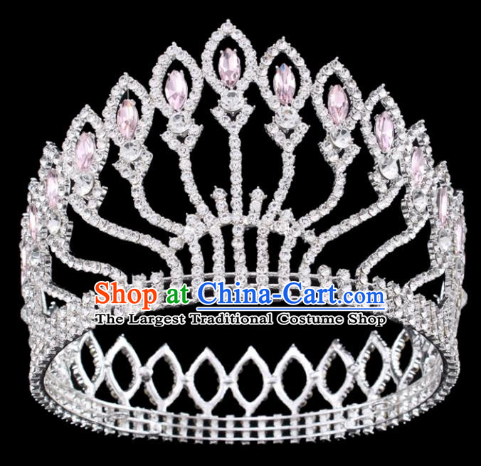 Top Grade Baroque Court Queen Pink Crystal Argent Royal Crown Wedding Bride Hair Accessories for Women