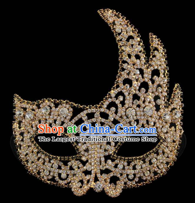 Handmade Halloween Accessories Venice Fancy Ball Golden Crystal Masks for Women