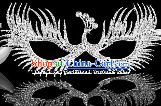 Handmade Halloween Accessories Face Mask Venice Fancy Ball Crystal Peacock Masks for Women
