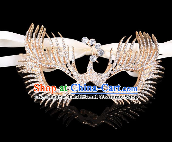 Handmade Halloween Accessories Face Mask Venice Fancy Ball Crystal Peacock Golden Masks for Women