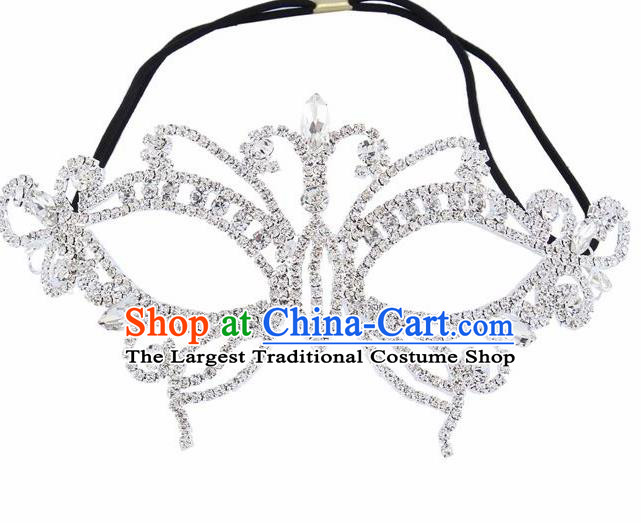 Handmade Halloween Accessories Zircon Butterfly Face Mask Venice Fancy Ball Crystal Masks for Women