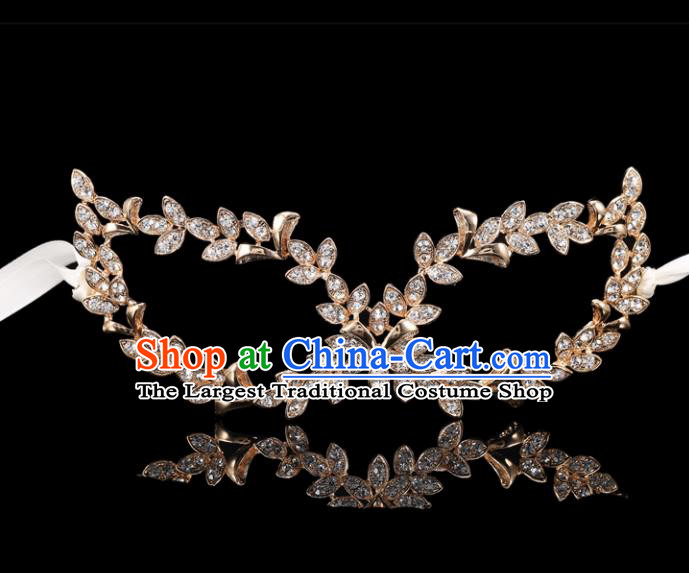 Handmade Halloween Accessories Venice Fancy Ball Golden Leaf Crystal Masks for Women