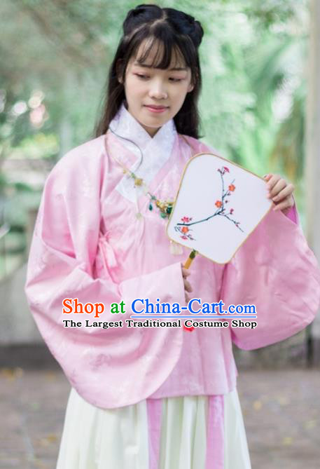 Traditional Chinese Ancient Ming Dynasty Costume Nobility Lady Pink Satin Blouse for Rich Women