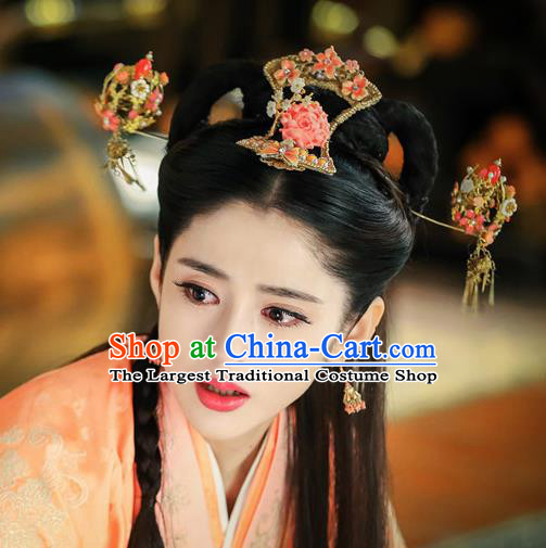 Chinese Ancient Han Dynasty Princess Hair Accessories Hairpins Complete Set for Women