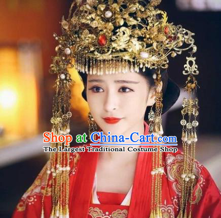 Chinese Ancient Han Dynasty Princess Wedding Hair Accessories Phoenix Coronet Hairpins Complete Set for Women