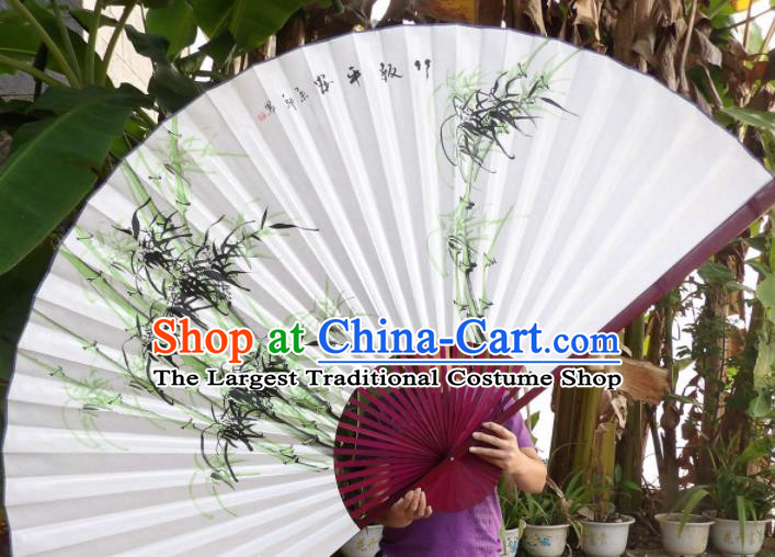Chinese Traditional Paper Fans Decoration Crafts Painting Bamboo Red Frame Folding Fans