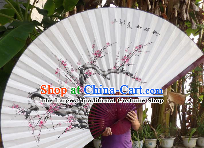 Chinese Traditional Paper Fans Decoration Crafts Hand Painting Plum Blossom Red Frame Folding Fans