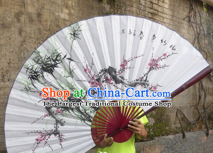 Chinese Traditional Paper Fans Decoration Crafts Hand Ink Painting Plum Blossom Bamboo Folding Fans