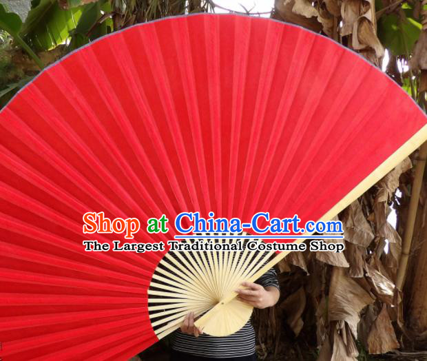 Chinese Traditional Red Silk Fans Decoration Crafts Handmade Folding Fans