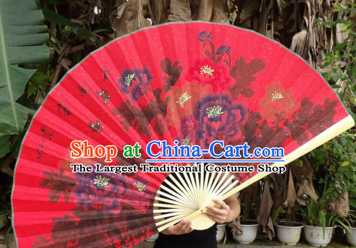 Chinese Traditional Red Paper Fans Decoration Crafts Handmade Printing Peony Wood Frame Folding Fans