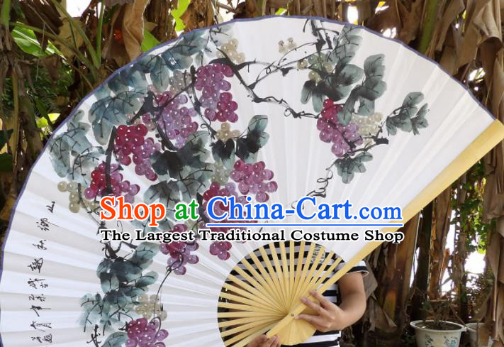 Chinese Traditional Paper Fans Decoration Crafts Handmade Printing Grape Wood Frame Folding Fans