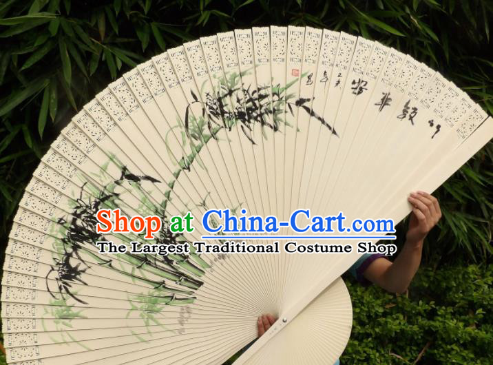 Chinese Traditional Wood Fans Decoration Crafts Handmade Printing Bamboo Folding Fans