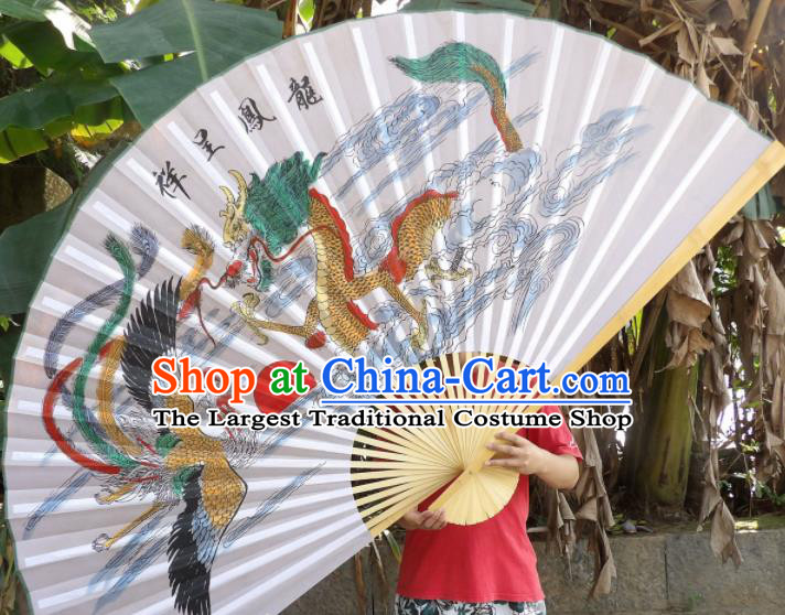 Chinese Traditional Handmade Paper Fans Decoration Crafts Printing Dragon Phoenix Wood Frame Folding Fans