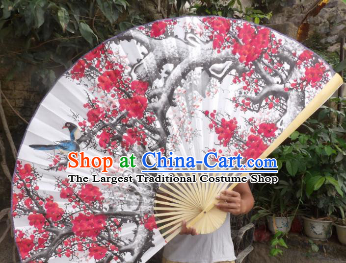 Chinese Traditional Handmade White Paper Fans Decoration Crafts Printing Plum Blossom Wood Frame Folding Fans
