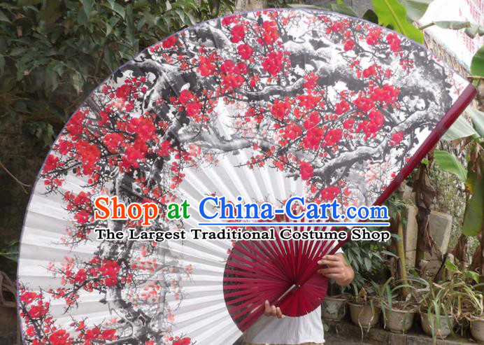 Chinese Traditional Handmade White Paper Fans Decoration Crafts Printing Plum Blossom Red Frame Folding Fans