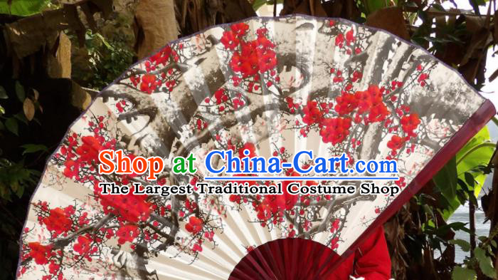 Chinese Traditional Handmade White Paper Fans Decoration Crafts Ink Painting Plum Blossom Red Frame Folding Fans