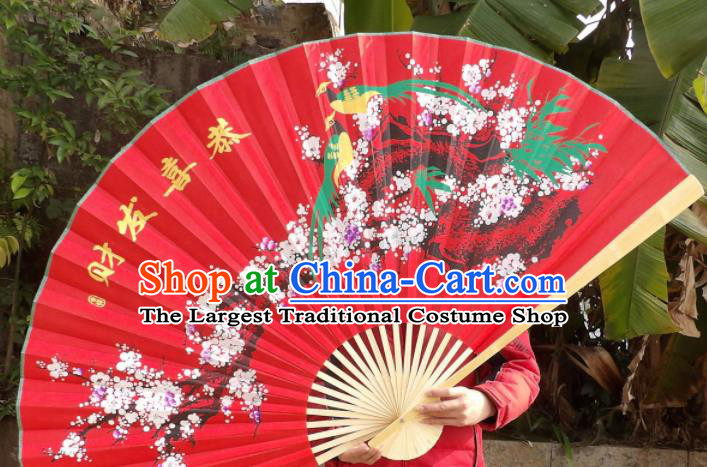 Chinese Traditional Handmade Red Silk Fans Decoration Crafts Ink Painting Plum Blossom Wood Frame Folding Fans