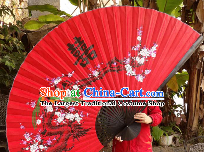 Chinese Traditional Handmade Red Silk Fans Decoration Crafts Ink Painting Plum Blossom Black Frame Folding Fans