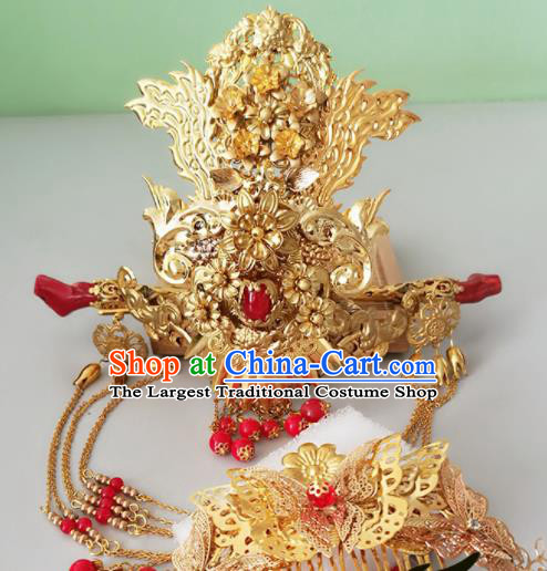 Chinese Ancient Han Dynasty Princess Hair Accessories Bride Phoenix Coronet Hairpins for Women