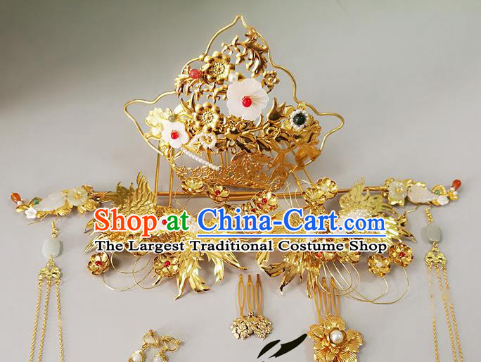 Chinese Ancient Tang Dynasty Imperial Consort Hair Accessories Wedding Hairpins Complete Set for Women