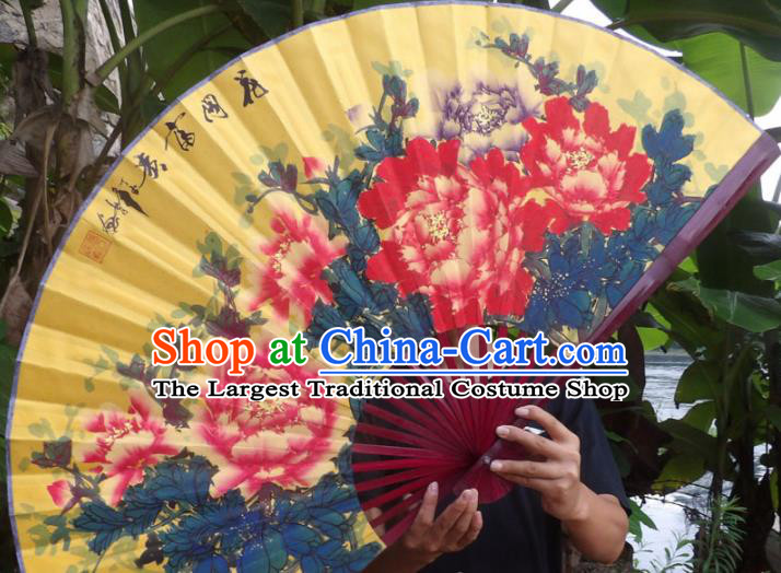 Chinese Traditional Fans Decoration Crafts Painting Wealth Peony Folding Fans Yellow Paper Fans