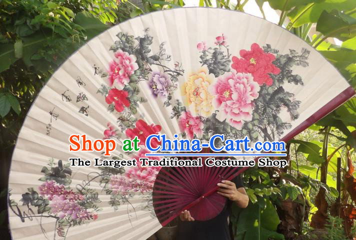 Chinese Traditional Fans Decoration Crafts Red Frame Ink Painting Peony Folding Fans Paper Fans