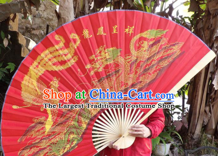 Chinese Traditional Fans Decoration Crafts Painting Dragon Phoenix Wood Frame Folding Fans Red Silk Fans