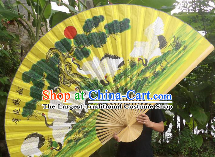 Chinese Traditional Fans Decoration Crafts Wood Frame Painting Cranes Folding Fans Yellow Paper Fans