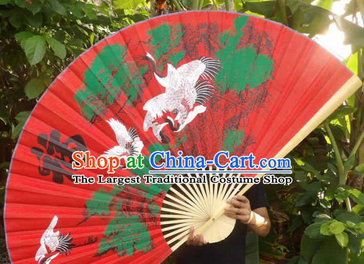 Chinese Traditional Handmade Red Silk Fans Decoration Crafts Painting Cranes Wood Frame Folding Fans