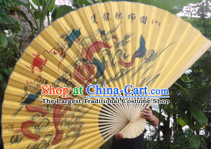 Chinese Traditional Handmade Yellow Silk Fans Decoration Crafts Ink Painting Dragon Wood Frame Folding Fans