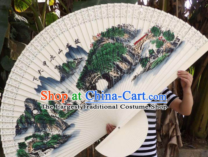 Chinese Traditional Handmade Wood Fans Decoration Crafts Ink Painting Guilin Scenery Folding Fans