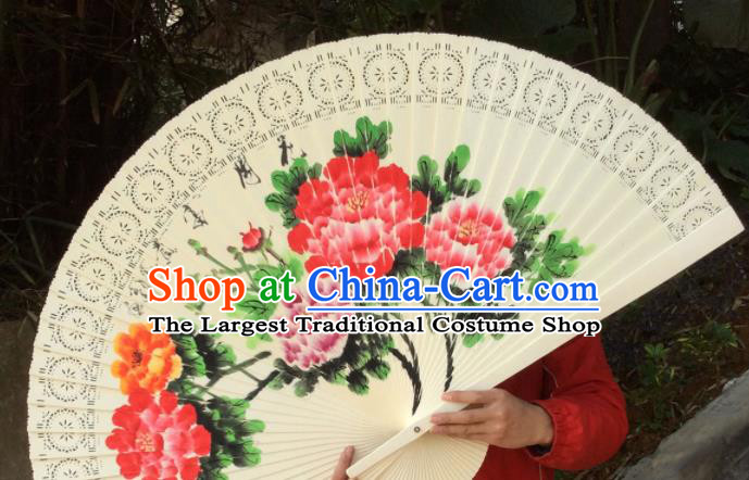 Chinese Traditional Handmade Wood Fans Decoration Crafts Ink Painting Peony Flowers Folding Fans