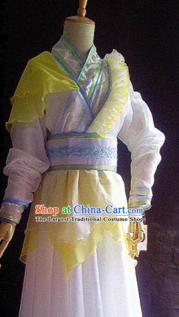 Traditional Chinese Cosplay Costumes Ancient Swordswoman Embroidered Yellow Hanfu Dress for Women