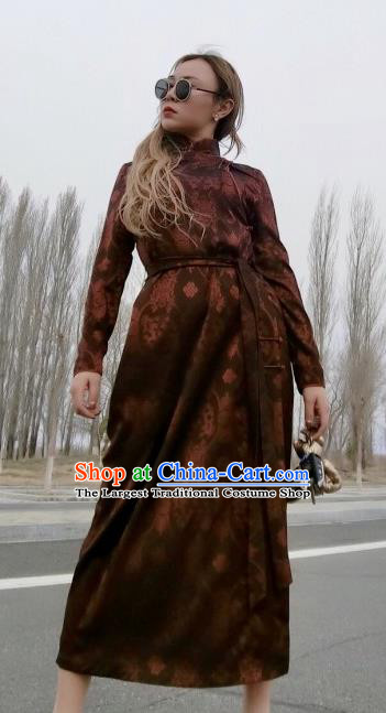 Chinese Traditional Mongol Ethnic Costume Mongolian Minority Nationality Brown Robe for Women