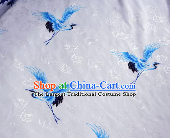 Asian Chinese Fabric Traditional Cranes Pattern Design Fabric Chinese Costume Silk Fabric Material