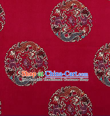 Traditional Chinese Wine Red Brocade Fabric Asian Dragons Pattern Design Satin Cushion Silk Fabric Material