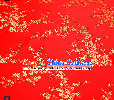 Chinese Traditional Red Brocade Fabric Asian Plum Blossom Pattern Design Satin Tang Suit Silk Fabric Material