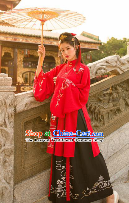 Traditional Chinese Ancient Princess Embroidered Hanfu Dress Ming Dynasty Historical Costumes for Women