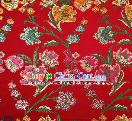 Traditional Chinese Purplish Red Brocade Drapery Classical Tulipa Pattern Design Satin Cheongsam Silk Fabric Material