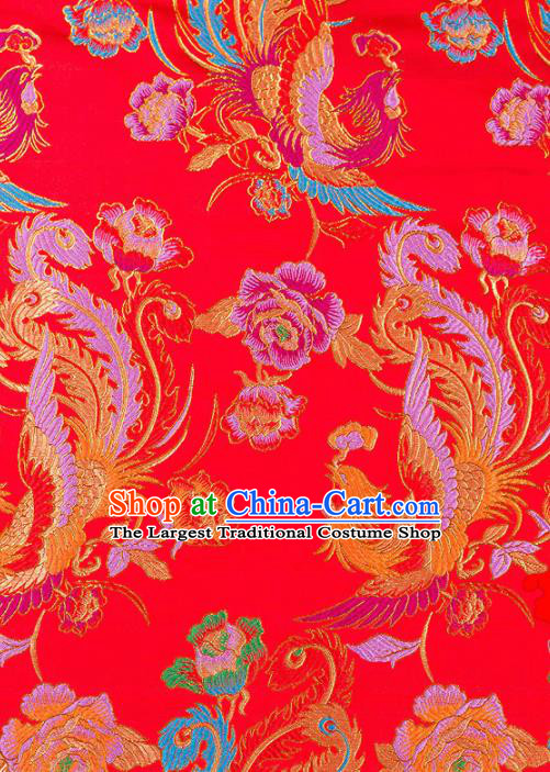 Asian Chinese Traditional Fabric Red Brocade Silk Material Classical Phoenix Peony Pattern Design Satin Drapery