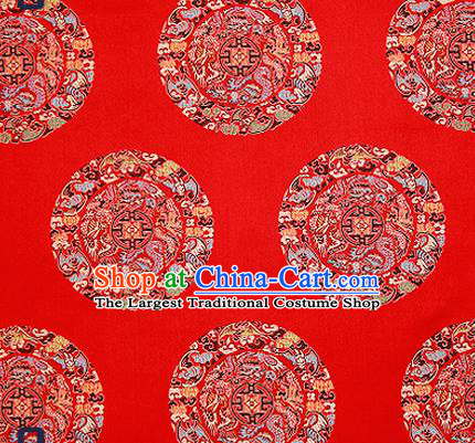 Asian Chinese Traditional Fabric Tang Suit Red Brocade Silk Material Classical Dragons Pattern Design Satin Drapery