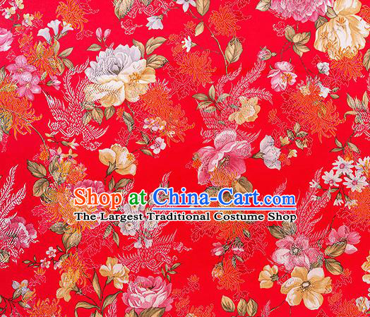 Traditional Chinese Classical Red Satin Brocade Drapery Chrysanthemum Peony Pattern Design Qipao Dress Silk Fabric Material