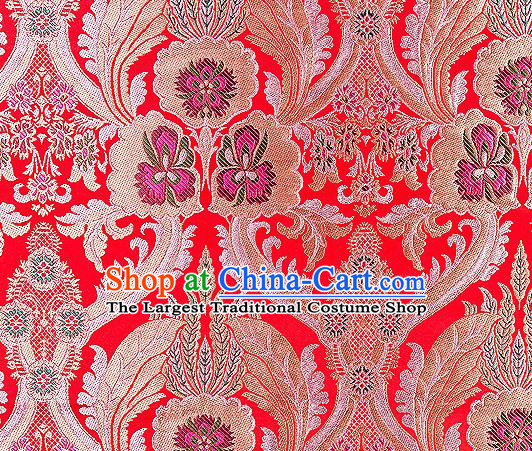 Traditional Chinese Tang Suit Red Nanjing Brocade Material Silk Fabric Classical Pattern Design Satin Drapery