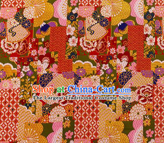 Asian Japanese Traditional Fabric Red Brocade Silk Material Classical Pattern Design Satin Drapery